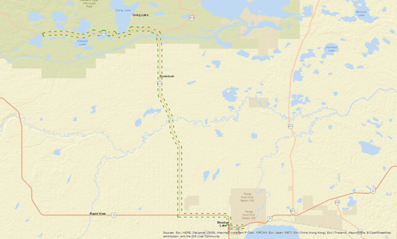 Small map of Vivian Lake Haul Route East on Highway 224 and south on Highway 4 to Meadow Lake